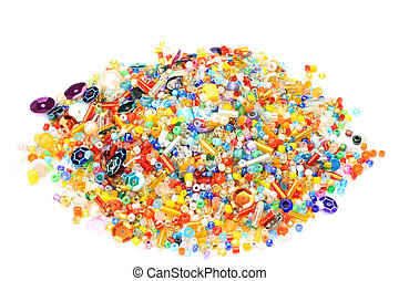 beads - I took beads in a white background