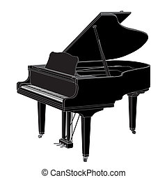 vector Piano - Vector piano on white background illustration...