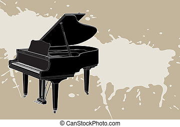 vector Piano - Vector piano on light background illustration...