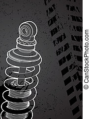 shock-absorbers - vector outline shock-absorbers on white...