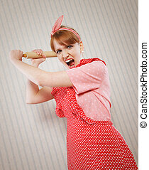 Retro housewife - Angry housewife with rolling pin