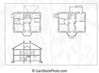 misc_0003 - vector House Plans White outlines on white...