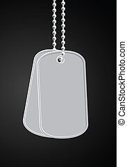 military dog tags - vector military dog tags on black