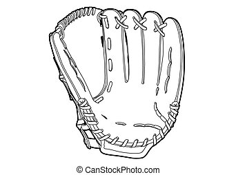 Baseball glove on white background outline