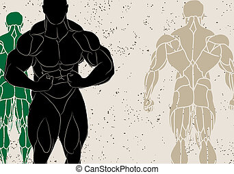 strong man - vector illustration of a strong man silhouette