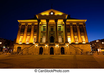 City Hall in Groningen city at night - City Hall building in...