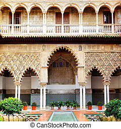 Courtyard in Alcazar, Seville, Spain