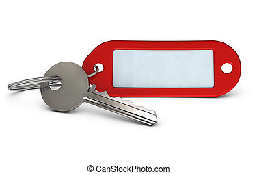 Key and red keyring with room for text over white background