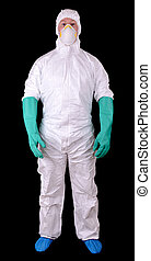 Man in full protective hazmat suit isolated on a black...