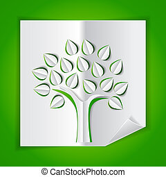 tree on green made of paper cut out