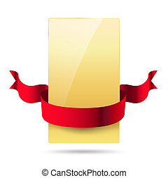shiny golden card with red ribbon