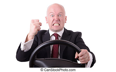 road rage behind the wheel with clenched fist isolated on...