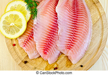 Filetes, tilapia, limón, redondo, tabla