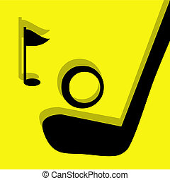 golf pictogram yellow - golf vector pictogram yellow black