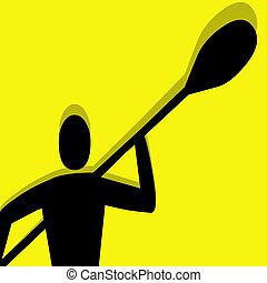 kayak pictogram yellow - kayak vector pictogram yellow black