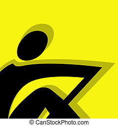 rowing pictogram yellow - rowing vector pictogram yellow...