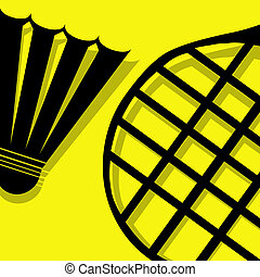 badminton pictogram yellow - badminton vector pictogram...