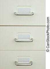 Modern white metal office drawer detail