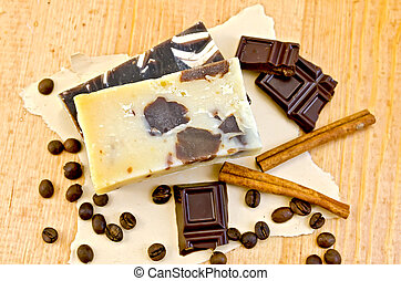 Soap homemade with chocolate and coffee on paper - Two bars...
