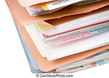 Stack of Folders with Dividers - An untidy pile of folders,...