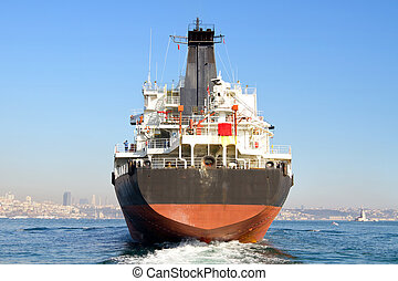 Cargo ship - A freighter from the backwash