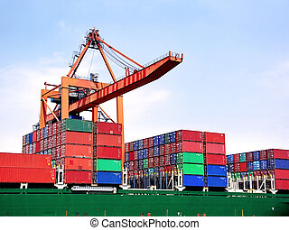 Containers under crane - Container stacks on board under...