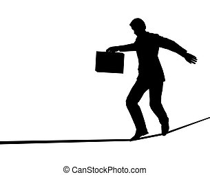Tightrope walker - Outline of a businessman walking a...