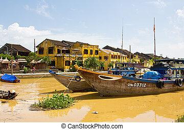 Hoi An - Buildings by Thu Bon river in Hoi An,Vietnam