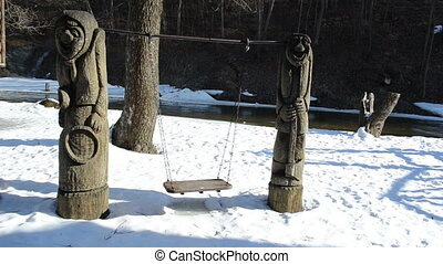 craft swing river winter - handmade wooden rural craft...
