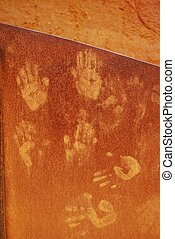 Ocher handprints background, Roussillon village, Provence,...