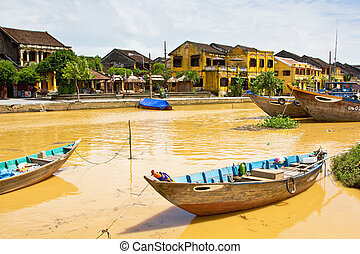 Hoi An - Buildings by Thu Bon river in Hoi An,Vietnam