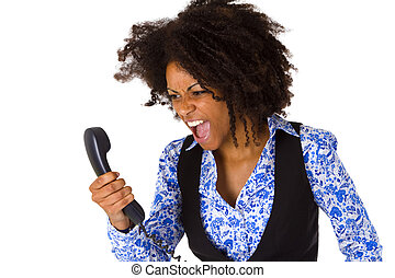 Angry african american woman with handset - isolated on...