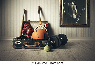 Sports equipment - Old Suitcase with sports equipment and...