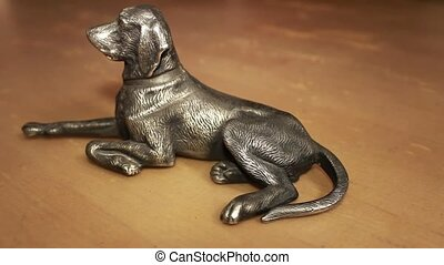 dog metal figurine - dog figurine dolly shot