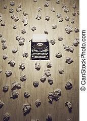 old typewriter - office of a journalist or author with an...