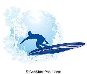surfing icon - surfer silhouette with abstract tropical...