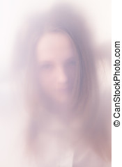 The teenager girl in a fog - The silhouette teenager girl in...