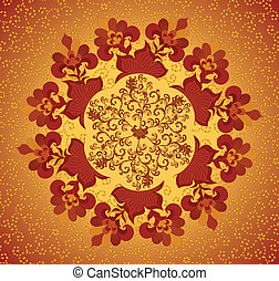 yellow and terracotta circular floral pattern