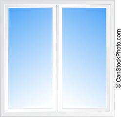 blue sky in window