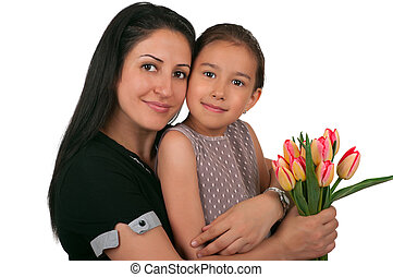 Mothers Day - Beautiful girl and her mother celebrating...