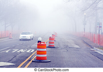 Danger on Road - Fog and Construction