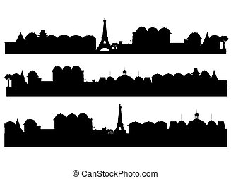 Set  cities silhouette vector
