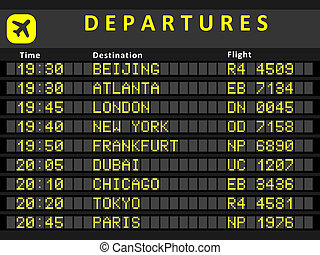 Departure board - destination airports. Busiest airports in...