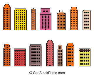Skyscraper set - Skyscraper city icon set. Colorful icons...
