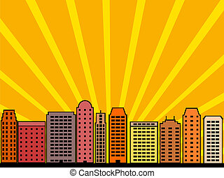 City skyline - Simple city illustration - skyscrapers and...