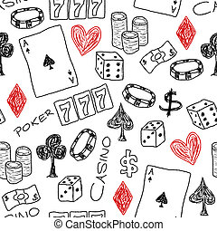 Casino background - Doodle seamless background texture...
