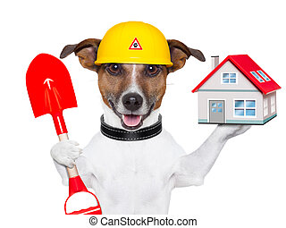 home dog builder - dog holding a small house and a red...