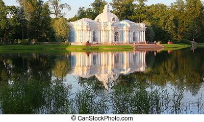 pavilion on lake in Pushkin park St. Petersburg Russia at sunset light