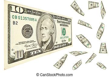 10 dollar isolated on white background