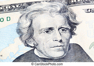 Money - Portrait of Jackson in front of the dollar bill